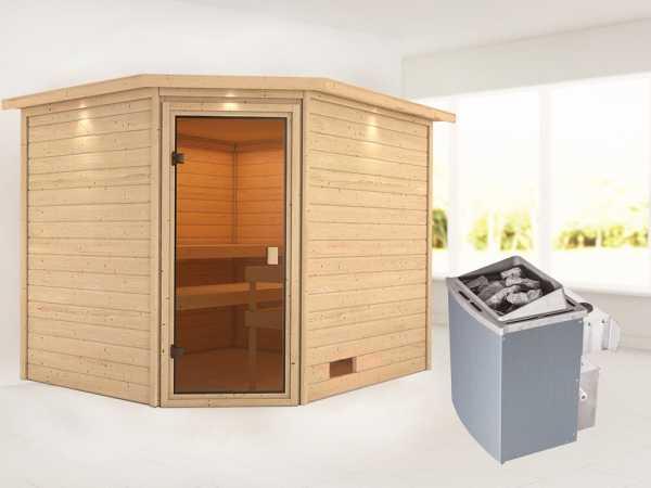 Sauna Lotta mit bronzierter Glastür und Dachkranz + 9 kW Saunaofen integr. Strg.
