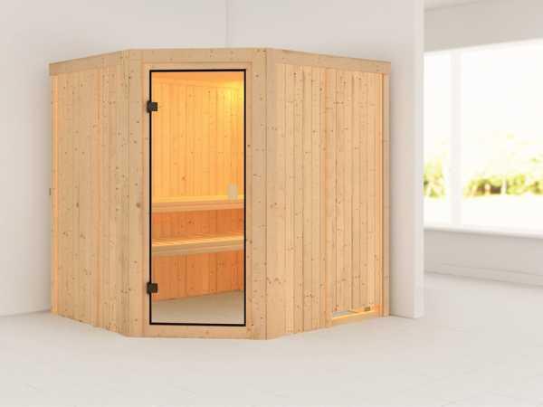Sauna Bodo mit bronzierter Glastür