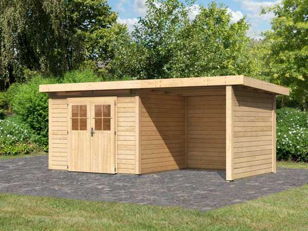 Gartenhaus SET Kerpen 3 CLASSIC 28 mm naturbelassen, inkl. 2,6 m Anbaudach + Seiten-/Rückwand