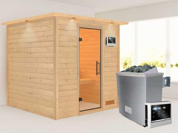 """Sauna Massivholzsauna """"Nora"""" mit Dachkranz, Klarglas Ganzglastür + 9 kW Saunaofen mit ext. Strg"""