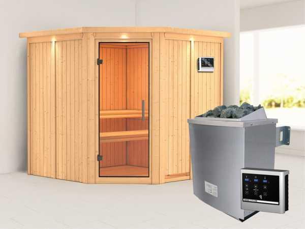Sauna Systemsauna Jarin mit Dachkranz, Klarglas Ganzglastür + 9 kW Saunaofen mit ext. Strg