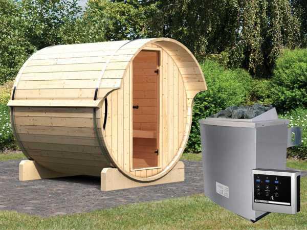 """Saunafass """"Fass-Sauna 1"""" inkl. 9 kW Saunaofen ext. Steuerung"""