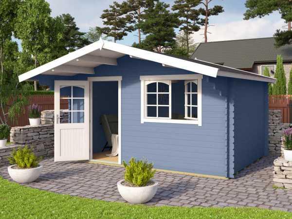 Gartenhaus Blockbohlenhaus Valga 44 44 mm taubenblau