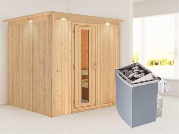 """Systemsauna """"Sodin"""" mit Dachkranz, Holztür mit Isolierglas, inkl. 9 kW Saunaofen integr. Steuerung"""
