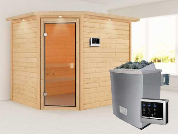 """Sauna """"Lisa"""" mit bronzierter Glastür und Dachkranz + 9 kW Saunaofen ext. Strg."""