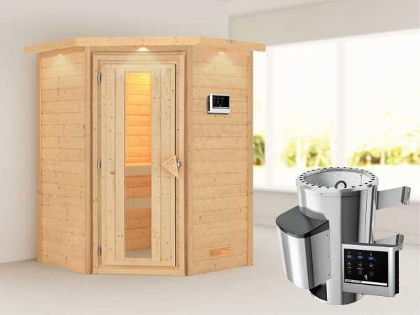 Sauna Massivholzsauna Alicja mit Dachkranz, Energiespartür + Plug & Play Saunaofen mit ext. Strg