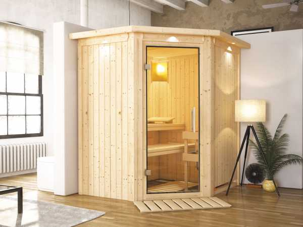 Sauna Systemsauna Taurin mit Dachkranz, Klarglas Ganzglastür
