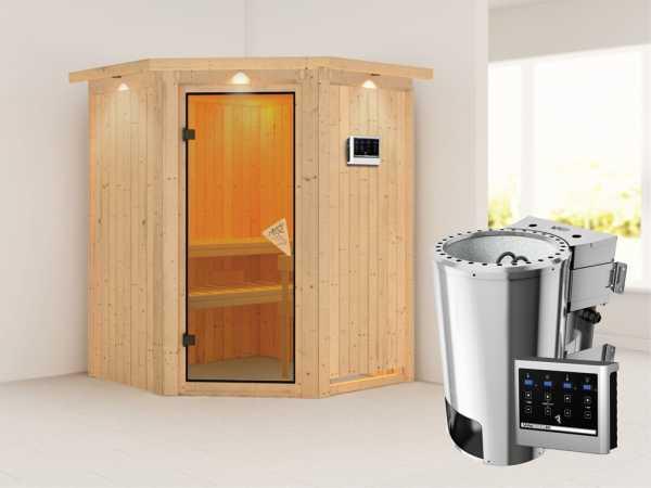 Sauna Systemsauna Nanja mit Dachkranz, inkl. Plug & Play Bio-Ofen externe Steuerung