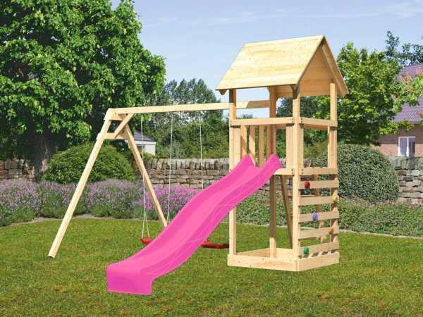Spielturm SPARSET Lotti 1 mit Doppelschaukel + Kletterwand inkl. Rutsche pink