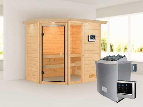 """Sauna """"Jada"""" mit bronzierter Glastür und Dachkranz + 9 kW Saunaofen ext. Strg."""
