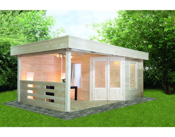gartenhaus blockbohlenhaus maja 40 a mit terrasse 40 mm naturbelassen wf0947. Black Bedroom Furniture Sets. Home Design Ideas