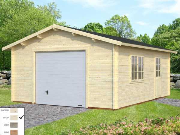 """Garage """"Roger"""" 23,9 m² mit Sektionaltor 44 mm transparent tauchimprägniert"""