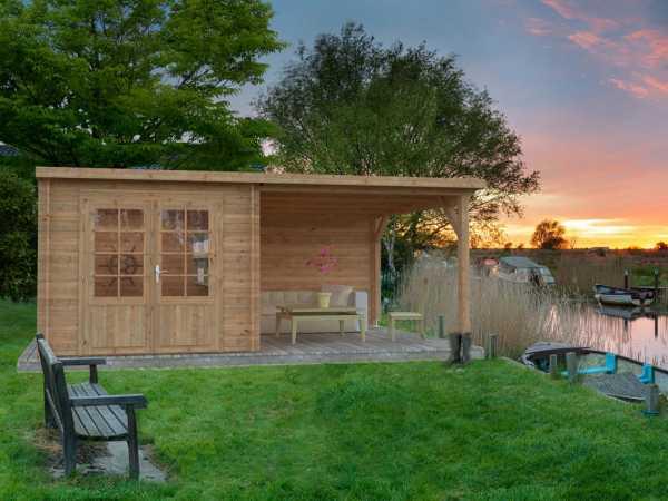 Gartenhaus Blockbohlenhaus Ella 6,9+8,2 m² 28 mm braun tauchimprägniert