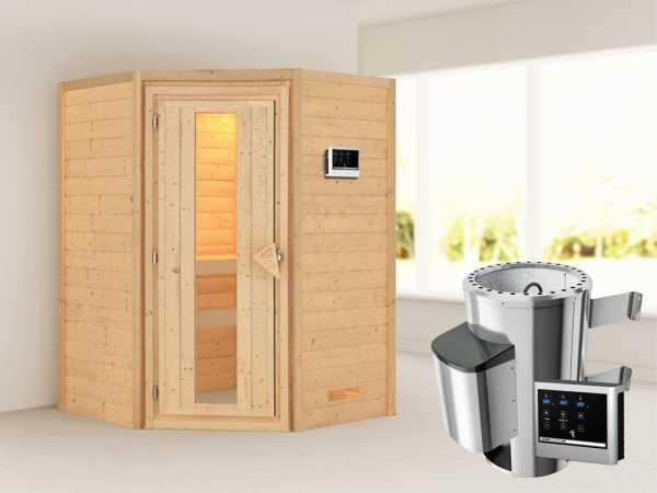 Sauna Massivholzsauna Alicja Energiespartür + Plug & Play Saunaofen mit externer Steuerung