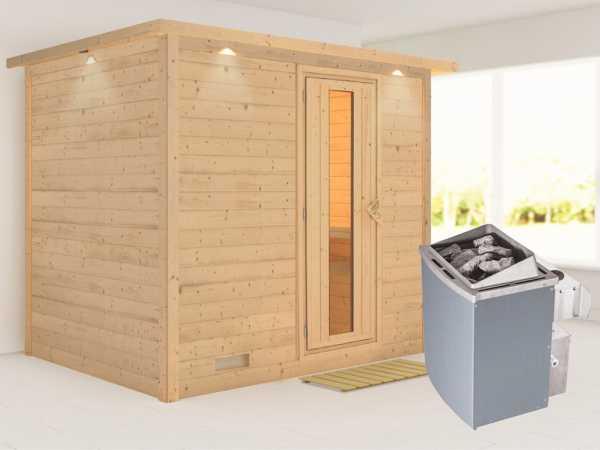 """Massivholzsauna """"Sonara"""" mit Dachkranz, Holztür mit Isolierglas, inkl. 9 kW Ofen integr. Steuerung"""