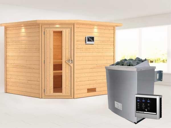 """Sauna Massivholzsauna """"Leona"""" mit Dachkranz, Energiespartür + 9 kW Saunaofen mit ext. Strg"""