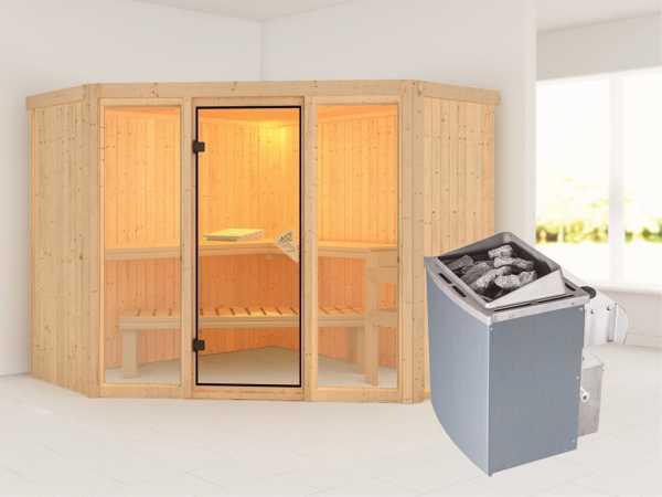 """Sauna Systemsauna """"Flora 2"""" inkl. 9 kW Saunaofen integr. Steuerung"""