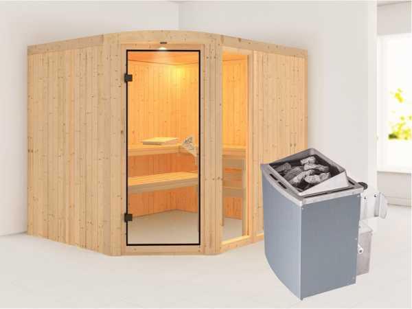 Sauna Systemsauna Lakura mit Fenster, inkl. 9 kW Saunaofen integr. Steuerung
