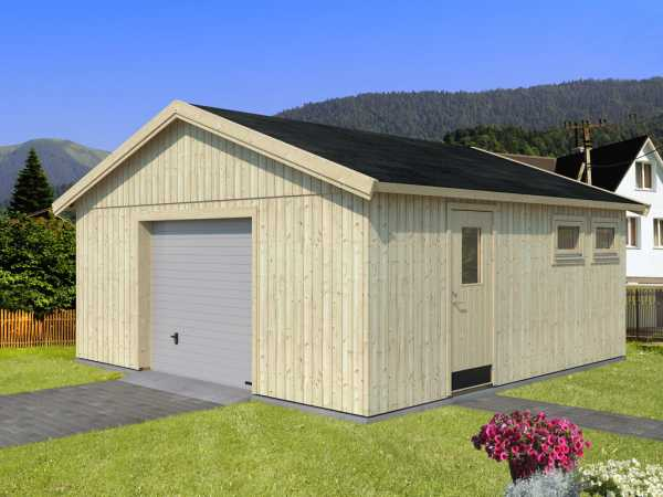Garage Andre 28,5 m² mit Sektionaltor 18+95 mm naturbelassen