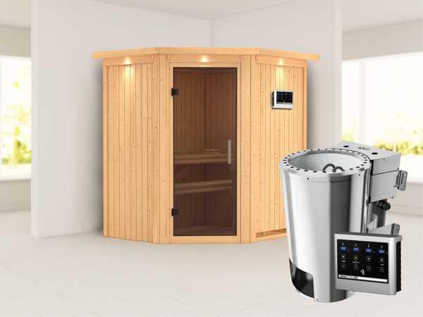 Sauna Systemsauna Tonja mit Dachkranz, graphit Ganzglastür + Plug & Play Bio-Ofen mit externe Strg