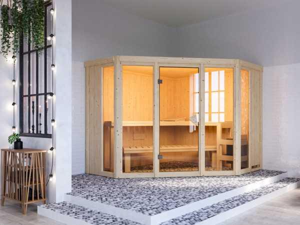 Sauna Systemsauna SPARSET Keshi inkl. 9 kW Bio-Kombiofen mit ext. Steuerung, bronzierte Glastür