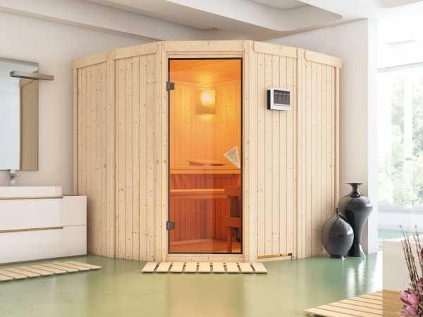 Sauna Systemsauna Simara 1 inkl. 9 kW Bio-Kombiofen ext. Steuerung