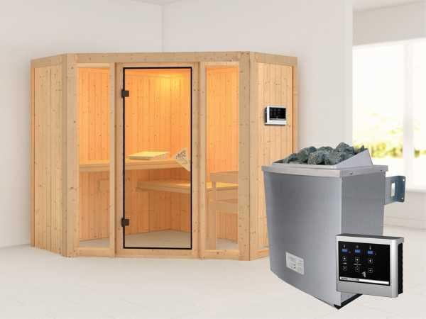 Sauna Systemsauna Flora 1 inkl. 9 kW Saunaofen ext. Steuerung