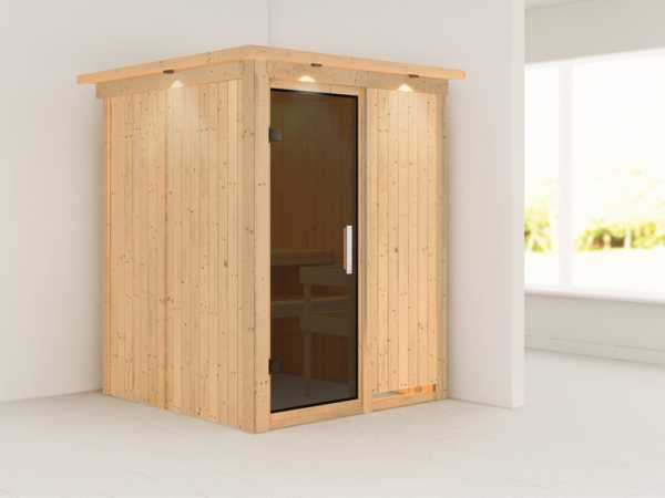 Sauna Systemsauna Minja mit Dachkranz, graphit Ganzglastür