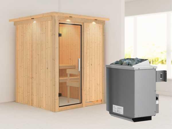 """Sauna Systemsauna """"Norin"""" mit Dachkranz, Klarglas Ganzglastür + 9 kW Saunaofen mit Steuerung"""