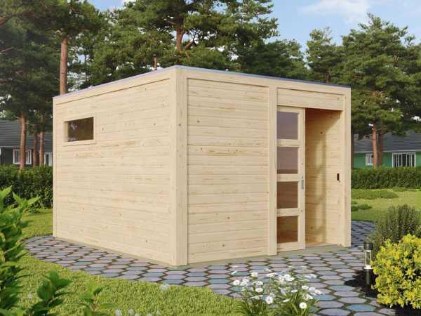Saunahaus Caleb naturbelassen + 9 kW Saunaofen ext. Strg.