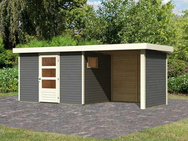 Gartenhaus SET Oburg 4 19 mm terragrau, inkl. 2,4 m Anbaudach + Seiten- & Rückwand