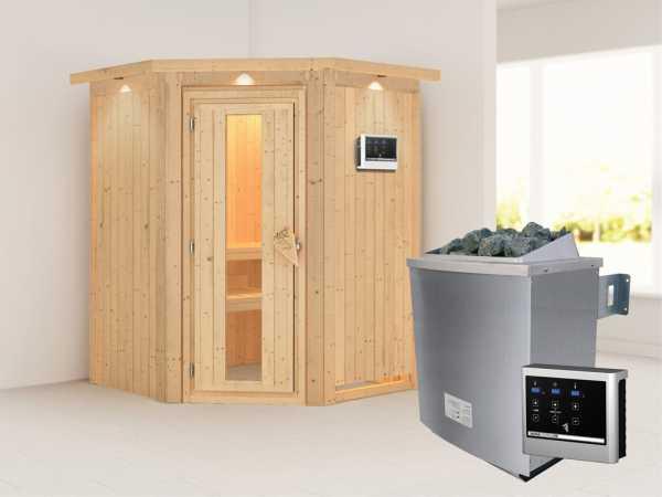 """Systemsauna """"Larin"""" mit Dachkranz, Holztür mit Isolierglas, inkl. 9 kW Saunaofen ext. Steuerung"""