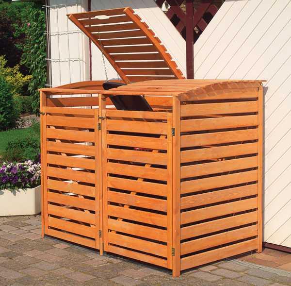 "Mülltonnenbox ""Vario III"" für 2 Tonnen honigbraun"
