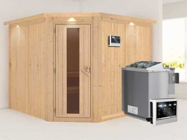 """Sauna Systemsauna """"Farin"""" mit Dachkranz, Energiespartür + 9 kW Bio-Kombiofen mit ext.Strg"""