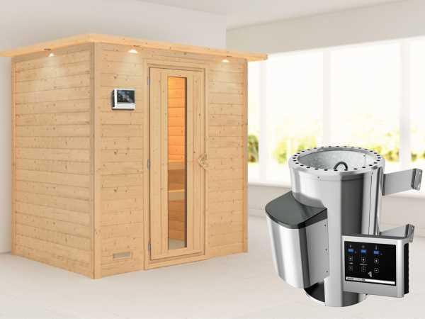 Sauna Massivholzsauna Ronja mit Dachkranz, Energiespartür + Plug & Play Saunaofen mit ext. Strg