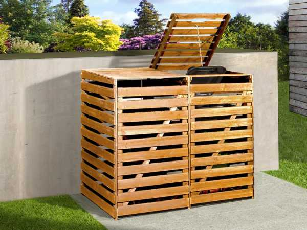 Mülltonnenbox für 2 Tonnen honigbraun imprägniert