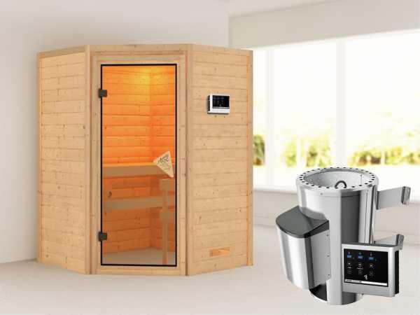 Sauna Massivholzsauna Alicja Bronzierte Ganzglastür + Plug & Play Saunaofen mit externer Steuerung