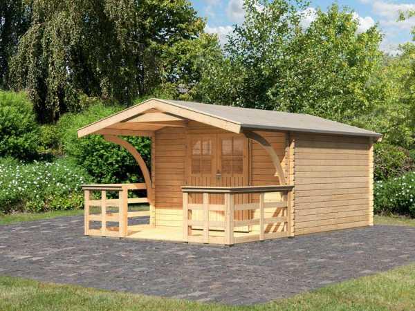 Gartenhaus Blockbohlenhaus Buxtehude 4 28 mm naturbelassen, inkl. Vordach + Terrasse