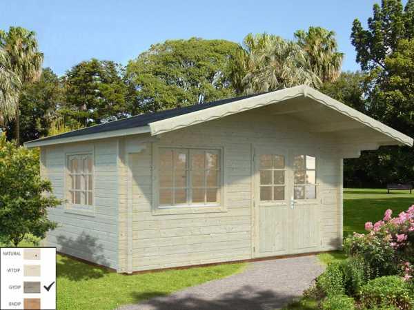 Gartenhaus Blockbohlenhaus Helena 15,1 m² 70 mm grau tauchimprägniert