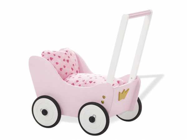 Puppenwagen Prinzessin Lea Buche, rosa, weiß und gold lasiert