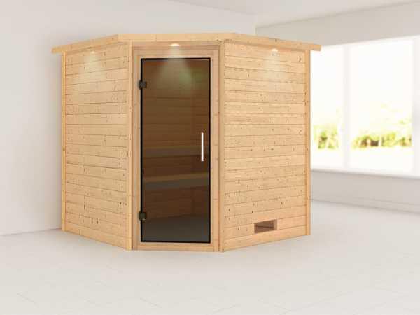 Sauna Massivholzsauna Nina mit Dachkranz, graphit Ganzglastür