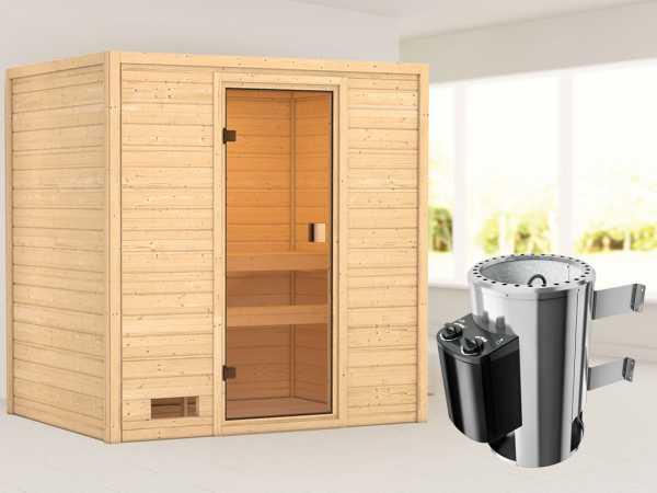 """Sauna """"Selena"""" mit bronzierter Glastür + 3,6 kW Plug & Play Saunaofen integr. Strg."""