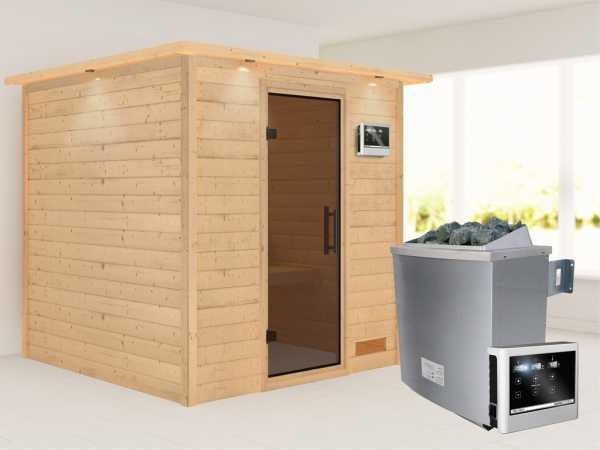 """Sauna Massivholzsauna """"Nora"""" mit Dachkranz, graphit Ganzglastür + 9 kW Saunaofen mit ext. Strg"""