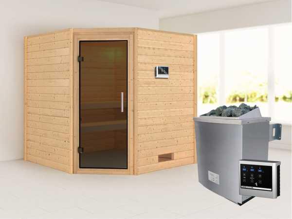 Sauna Massivholzsauna Nina graphit Ganzglastür + 9 kW Saunaofen mit ext. Strg