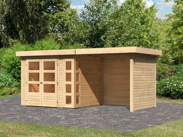 Gartenhaus SET Kerko 3 19 mm naturbelassen, inkl. 2,4 m Anbaudach + Seiten- und Rückwand