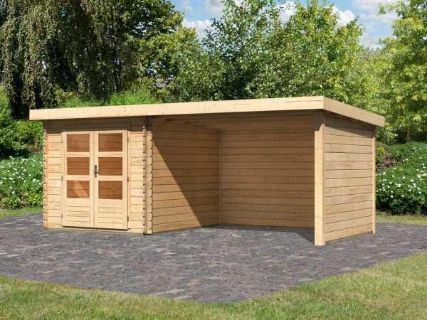 Gartenhaus Blockbohlenhaus SET Bastrup 4 28 mm naturbelassen, inkl. 3 m Anbaudach + Seiten-/Rückwand
