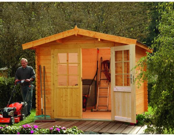 Gartenhaus Blockbohlenhaus Bibertal 28-XS 28 mm naturbelassen
