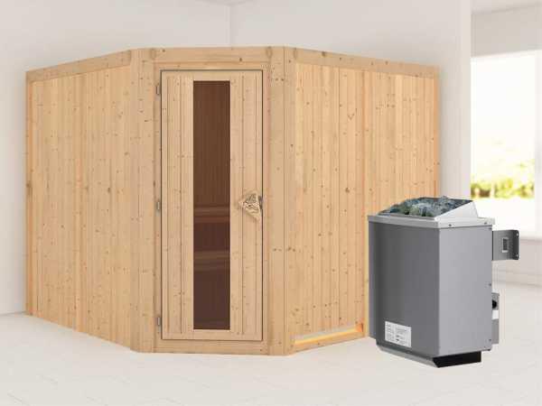 """Sauna Systemsauna """"Farin"""" Energiespartür + 9 kW Saunaofen mit Steuerung"""