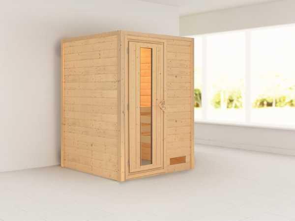 "Sauna Massivholzsauna ""Svenja"" Holztür mit Isolierglas"
