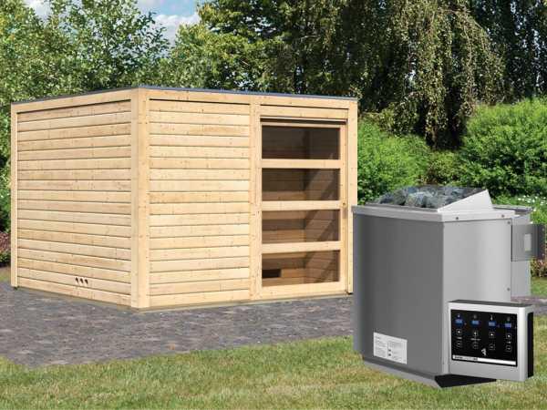 Saunahaus Cuben 38 mm naturbelassen inkl. 9 kW Bio-Kombiofen ext. Steuerung